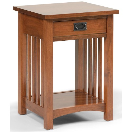Daniel's Amish Mission 1-Drawer Mission-Style Open Nightstand with 1 Shelf