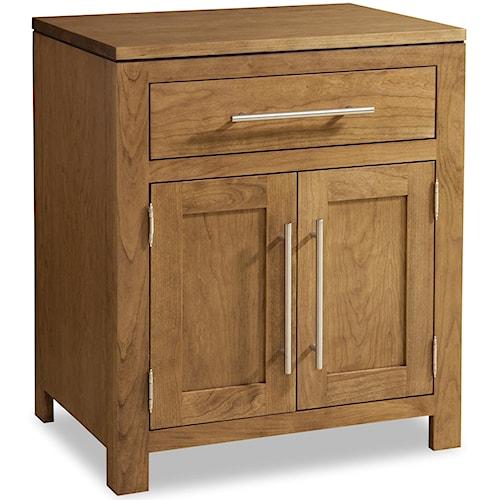 Daniel's Amish Modern 1-Drawer Nightstand with 2 Doors