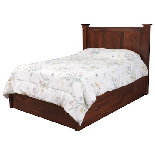 Daniel's Amish Treasure Queen Pedestal Bed W/ 60