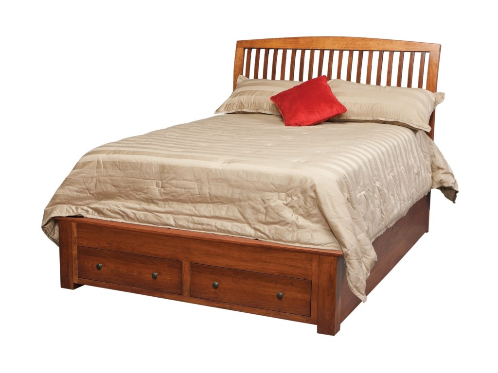 Daniels Amish Holmes Queen Pedestal Bed With Footboard Drawers - Daniel's amish bedroom furniture