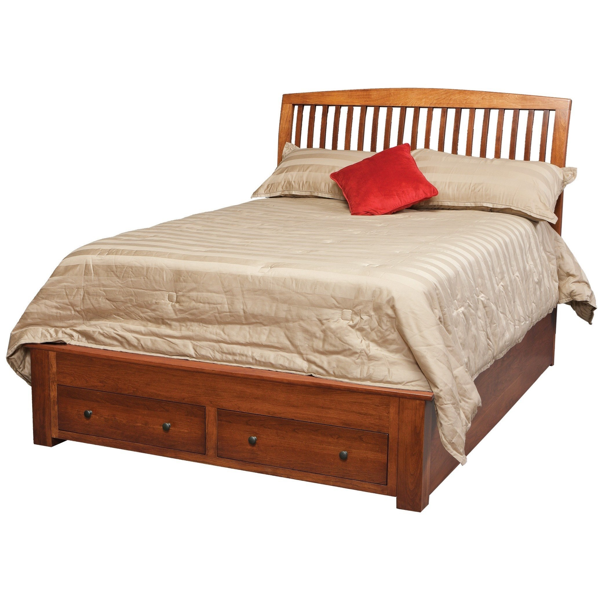 Danielu0027s Amish HolmesQueen Pedestal Bed With 2 Footboard Drawers ...