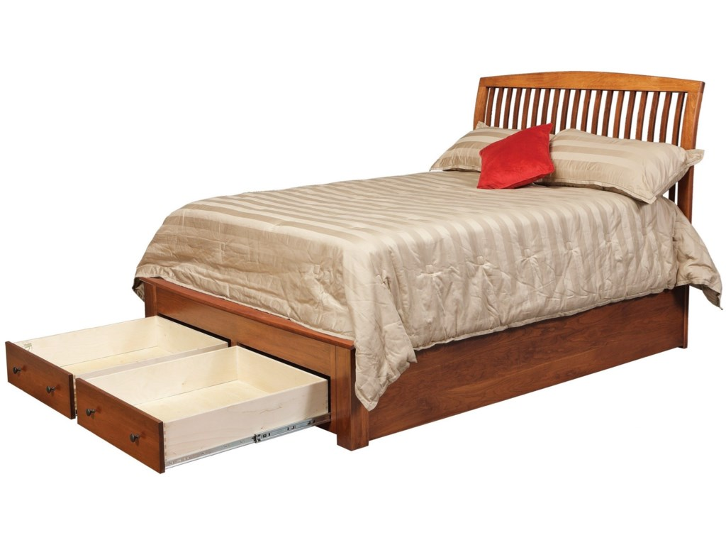Daniel's Amish HolmesQueen Pedestal Bed with 2 Footboard Drawers