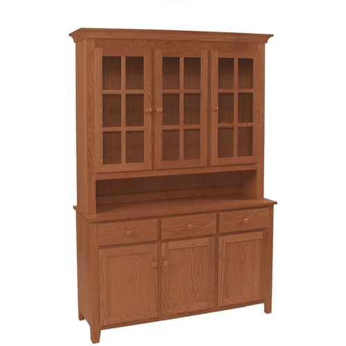 Daniel's Amish Hutch and Buffets Shaker Deluxe Hutch & Buffet with Touch Lighting