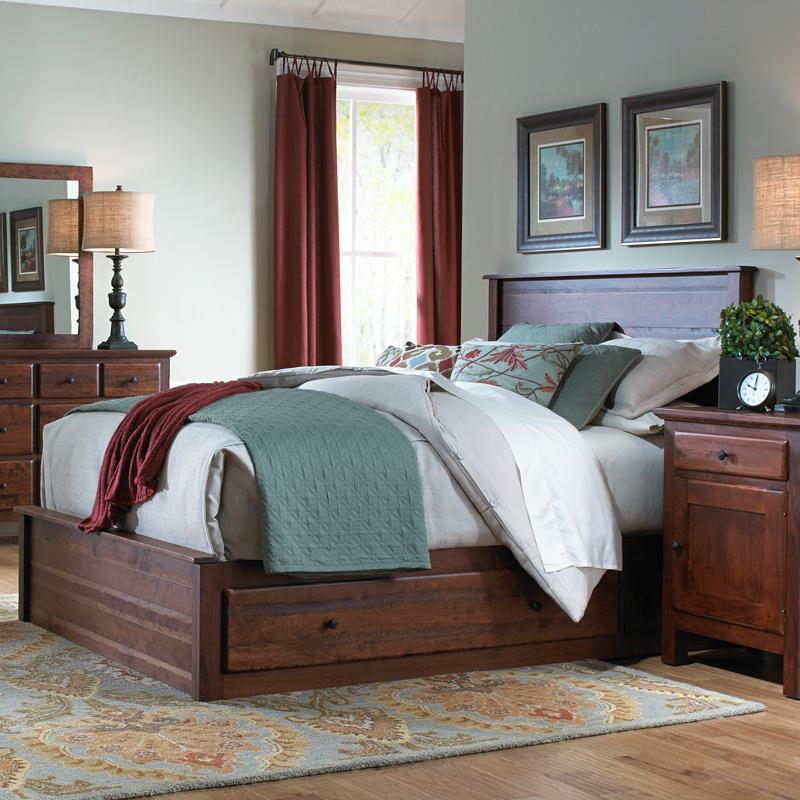 Danielu0027s Amish Lewiston Queen Storage Bed   Belfort Furniture   Headboard U0026  Footboard