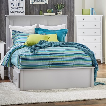 Queen Pedestal Bed w/ 2 Drawers on Each Side