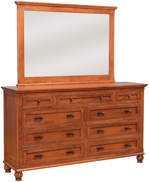 Daniel's Amish Regal 7-Drawer Double Dresser and Mirror Set