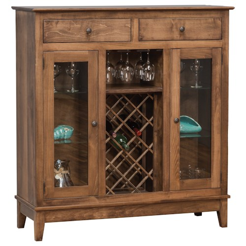 Daniel 39 S Amish Dining Storage Shaker Wine Cabinet With Wine Glass Rails And Bottle Rack