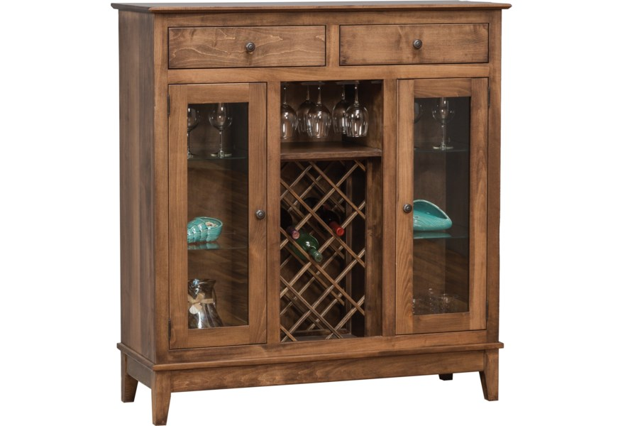 Daniel S Amish Dining Storage Shaker Wine Cabinet With Wine Glass Rails And Bottle Rack Belfort Furniture Wine Racks Wine Cabinets