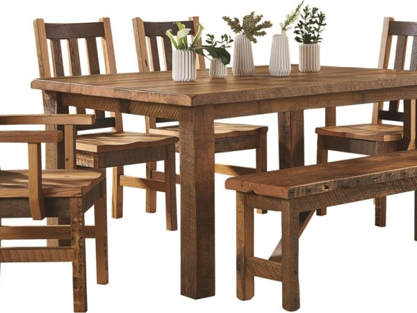 Barnwood Dining Room Table+Chairs+Bench