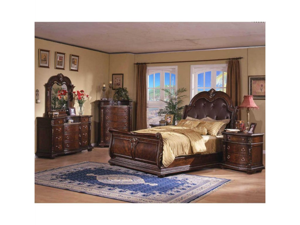 Davis Direct CoventryQueen Sleigh Bed, Dresser, Mirror & Nightsta