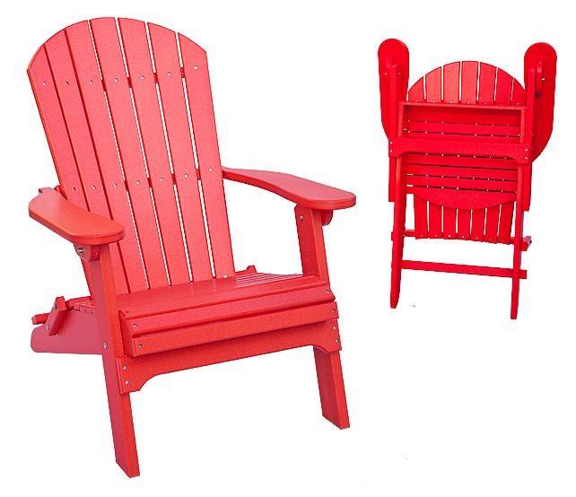 Daybreak Poly Furniture Adirondack Folding Adirondack Chair: Red