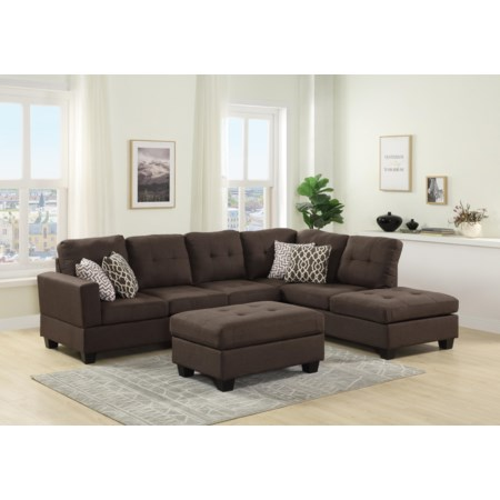 3pc Reversible Sectional and Ottoman
