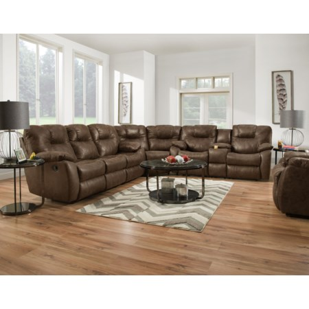 Reclining 6 Seat Console Sectional