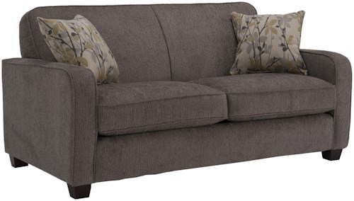 Decor-Rest 2122  Contemporary Loveseat with Smooth Track Arms and Small Wood Feet