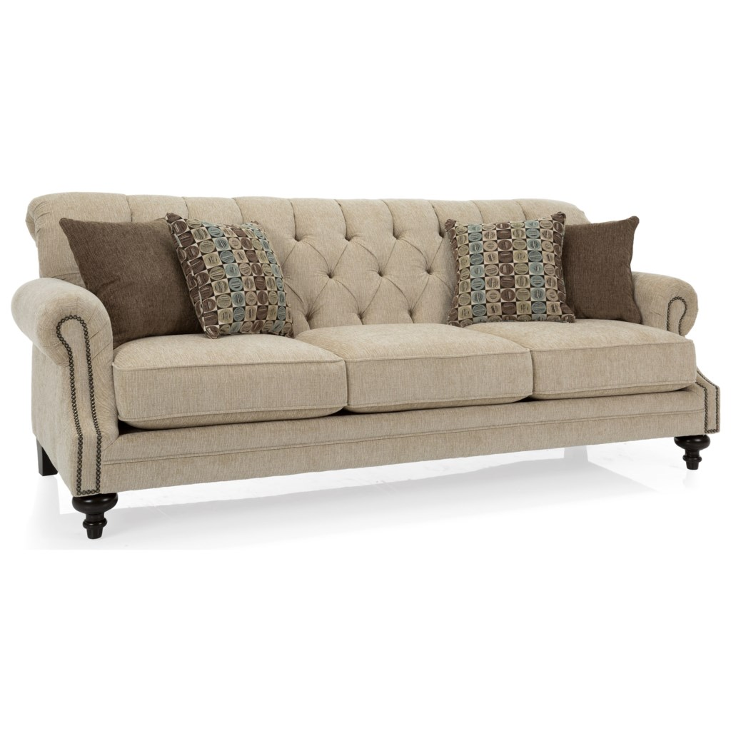 Decor Rest 2133 Traditional Tufted Back Sofa With Nailhead Accents