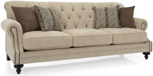 Decor-Rest 2133 Traditional Tufted Back Sofa with Nailhead Accents