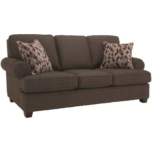Decor-Rest 2285  Casual Living Room Furniture Sofa with Smooth Rolled Arms and Toss Pillows