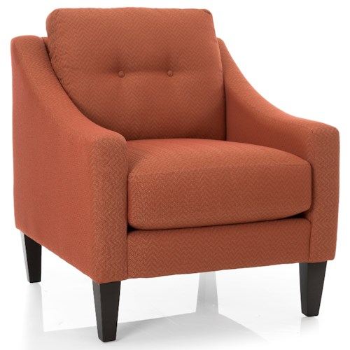Decor-Rest 2467 Mid-Century Modern Accent Chair with Sloped Track Arms