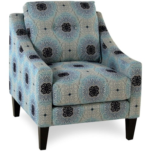 Decor-Rest Bianca Mid-Century Modern Accent Chair with Sloped Track Arms