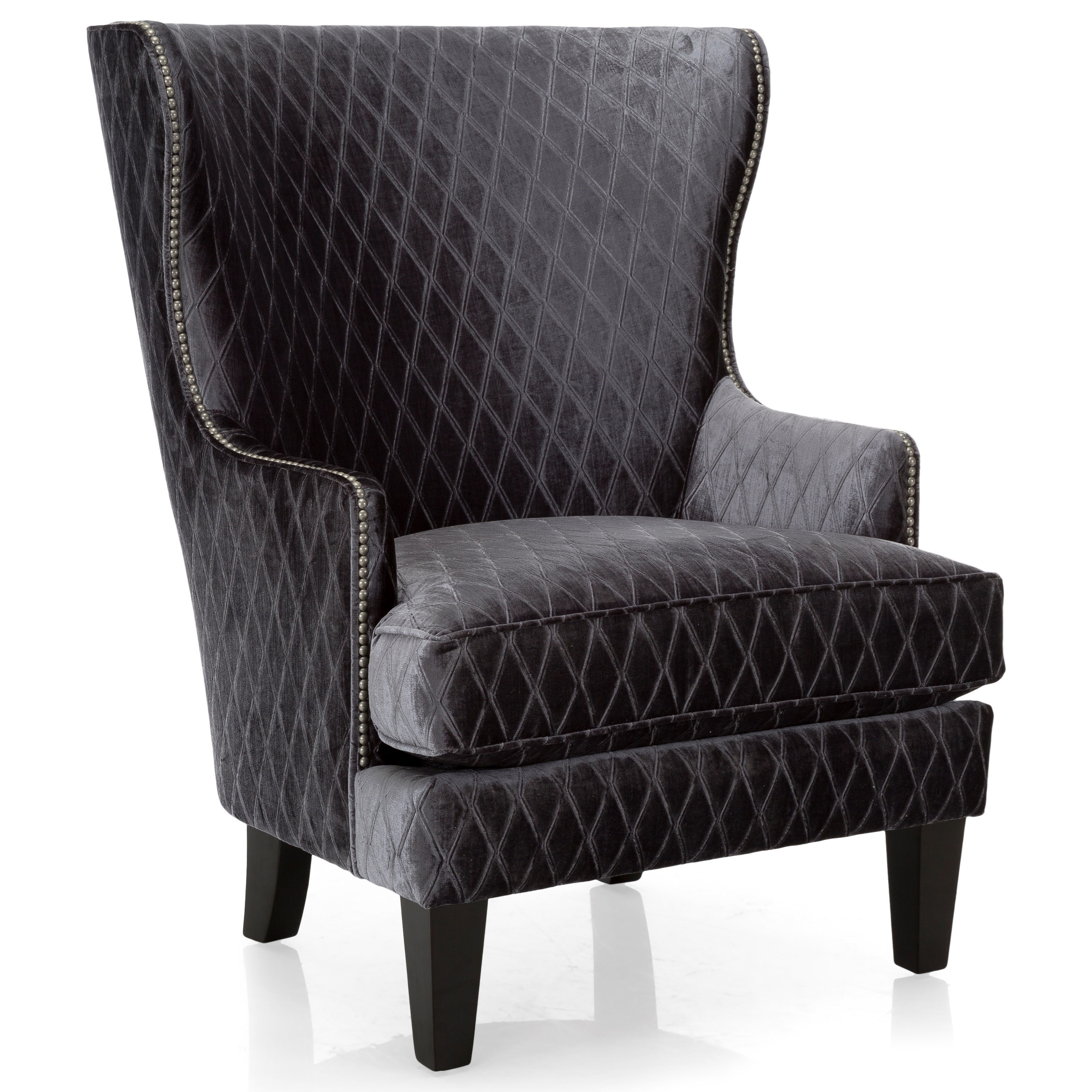 Decor Rest 2492 Traditional Wing Back Chair With Nailhead Trim