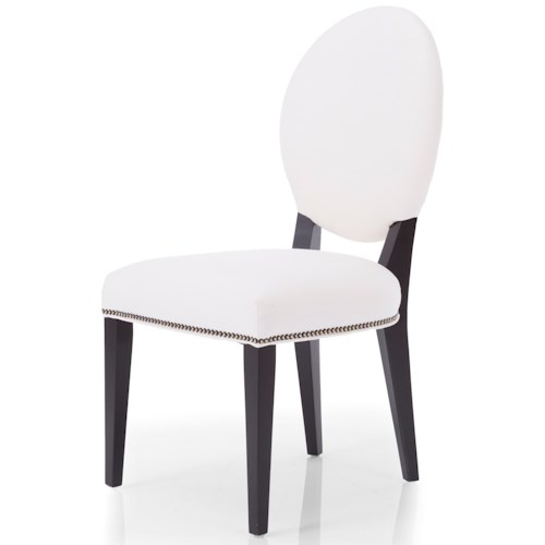 Decor-Rest 2621 Upholstered Oval Back Dining Side Chair with Nails