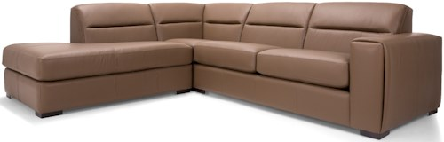 Decor-Rest 2656 - 3656 Contemporary Two Piece Sectional Sofa with Left Facing Bumper Chaise