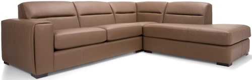 Decor-Rest 2656 - 3656 Contemporary Two Piece Sectional Sofa with Right Facing Bumper Chaise