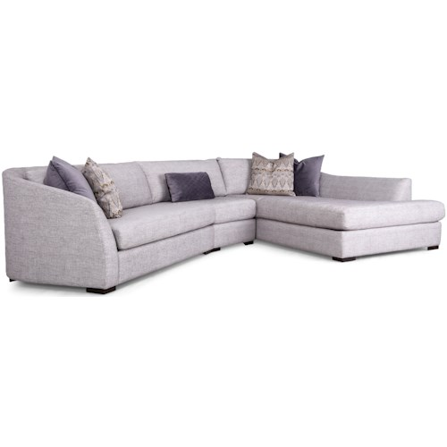 Decor-Rest 2703 Contemporary Angled Three Piece Sectional Sofa with Right Hand Chaise
