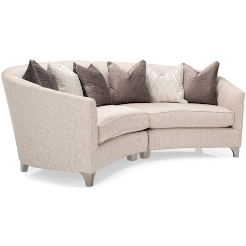 Decor-Rest 2784 Contemporary Two Piece Curved Tuxedo Sectional Sofa with Scattered Back Pillows