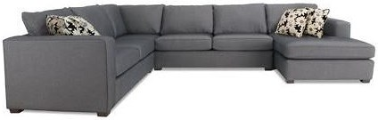 Decor-Rest 2900 4-Piece Contemporary Sectional Sofa with Track Arms