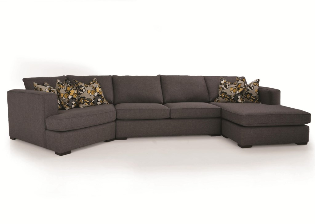 Decor Rest 2900 3 Piece Contemporary Sectional With Lhf Cuddler  ~ Sectional Sofa With Cuddler