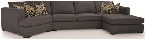 Decor-Rest 2900 3-Piece Contemporary Sectional with LHF Cuddler