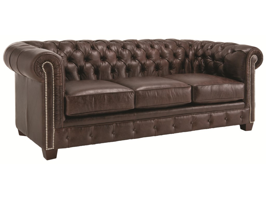 Decor-Rest 3230 Traditional Styled Tuxedo Sofa with Deep Tufted Seat Back  and Rolled Arms - Sheely's Furniture & Appliance - Sofas