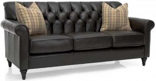 Decor-Rest 3478 Traditional Sofa with Tufted Back and Turned Feet