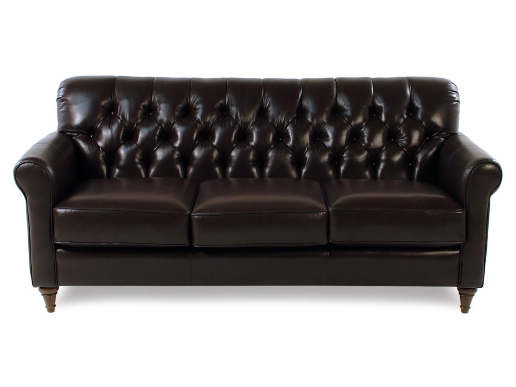 Maxwell Traditional Leather Sofa With Tufted Back And Turned Feet