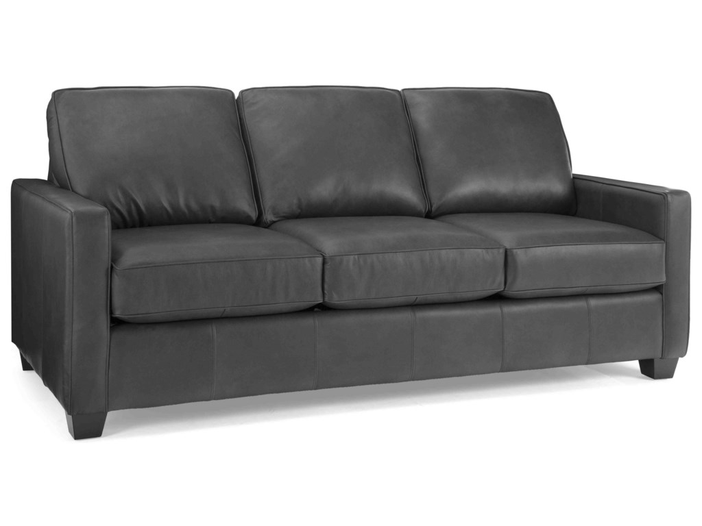 Taelor Designs 3855Leather Sofa with 2 Toss Cushions