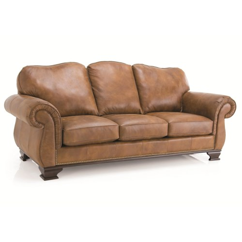 Decor-Rest 3933 Leather Sofa with Nail Head Trim