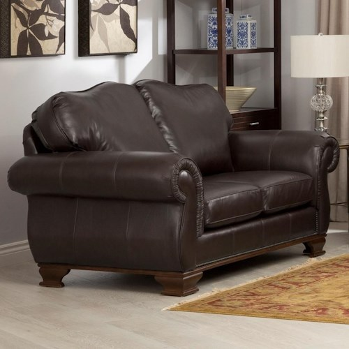 Decor-Rest 3933 Leather Loveseat with Nail Head Trim