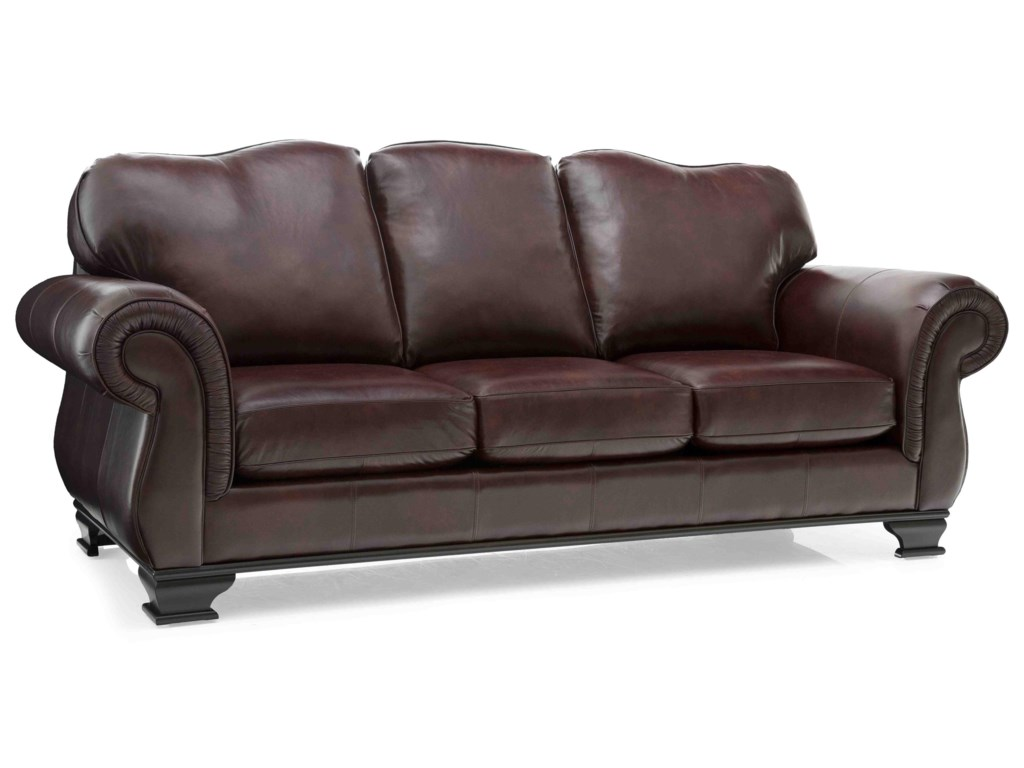 Taelor Designs 3933Leather Sofa & Two Toss Cushions