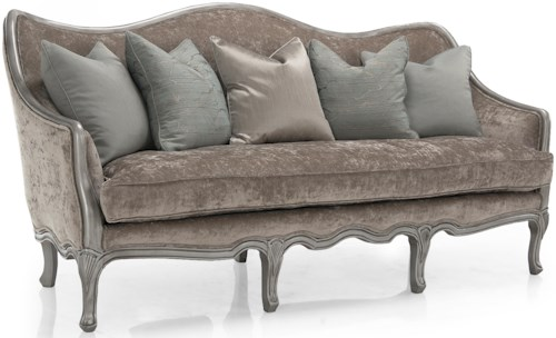 Decor-Rest 6300 Stationary Sofa w/ Hand Carved Show Wood