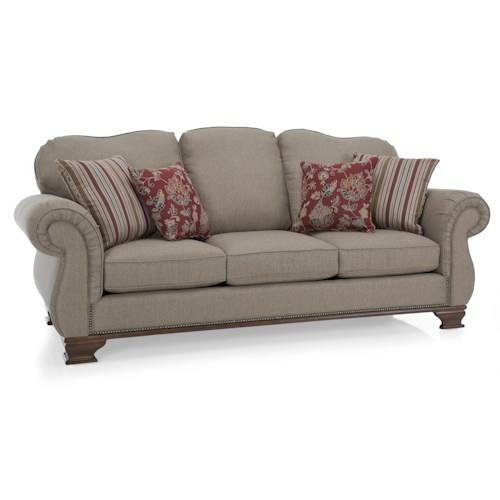 Decor-Rest 6933 Traditional Sofa with Exposed Wood Accents