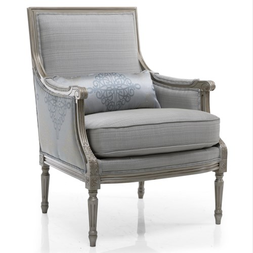 Decor-Rest Accent Chairs Firenze Chair with Exposed Wood on Back and Arms