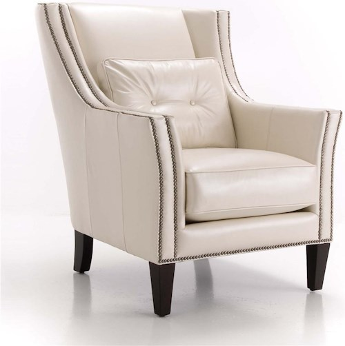 Decor-Rest Upholstered Accents Chair with Track Arms and Nailhead Trim