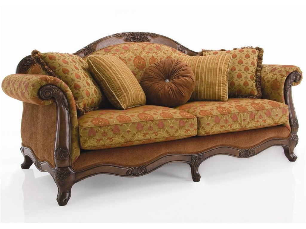 Decor Rest Upholstered Accentstraditional Exposed Wood Sofa