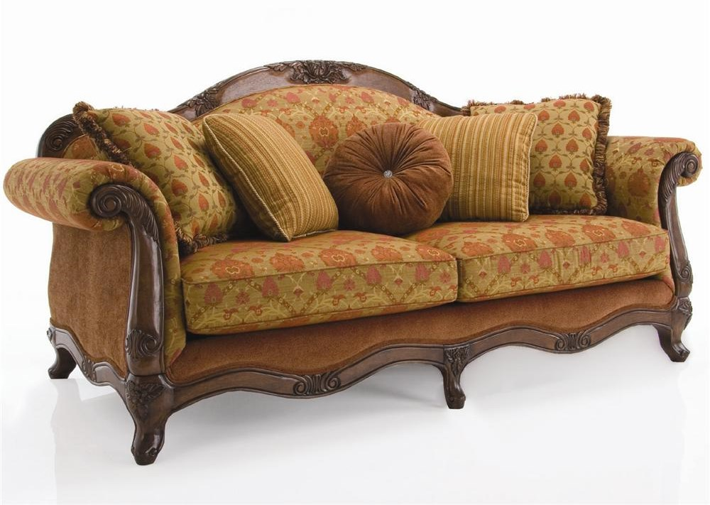 Decor-Rest Upholstered AccentsTraditional Exposed Wood Sofa