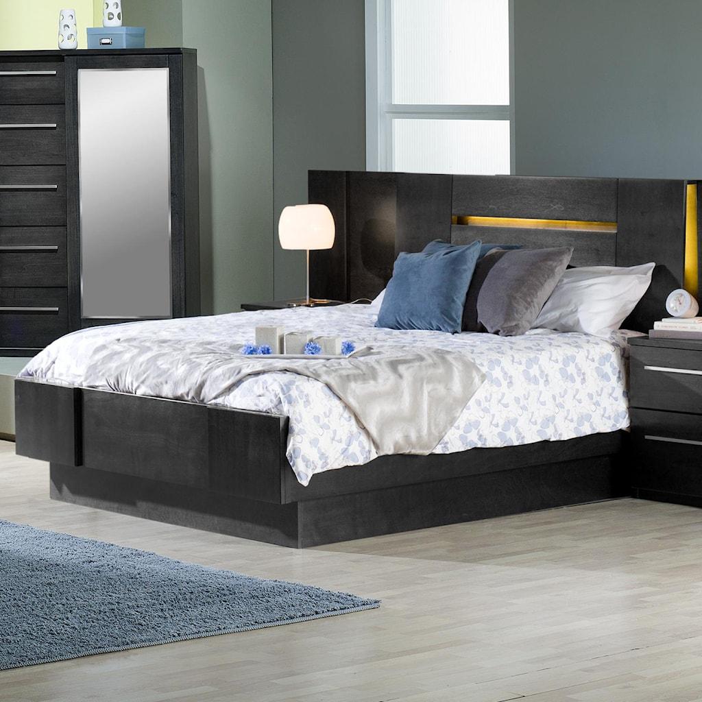 Defehr Milano Contemporary Queen Platform Bed With 2 Nightstands