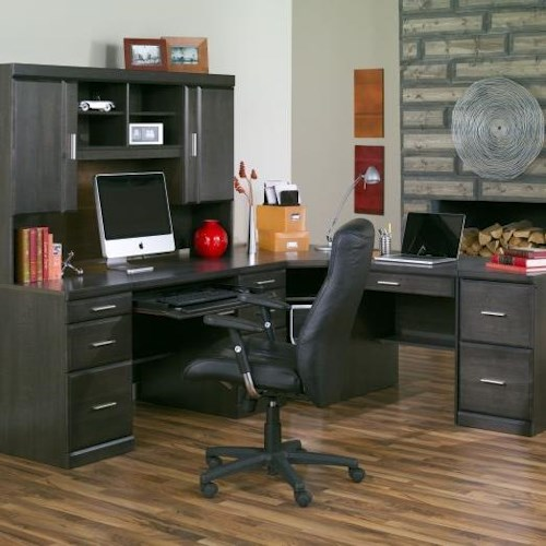 Defehr Series 346 Charcoal L Shape Desk with Silver Hardware