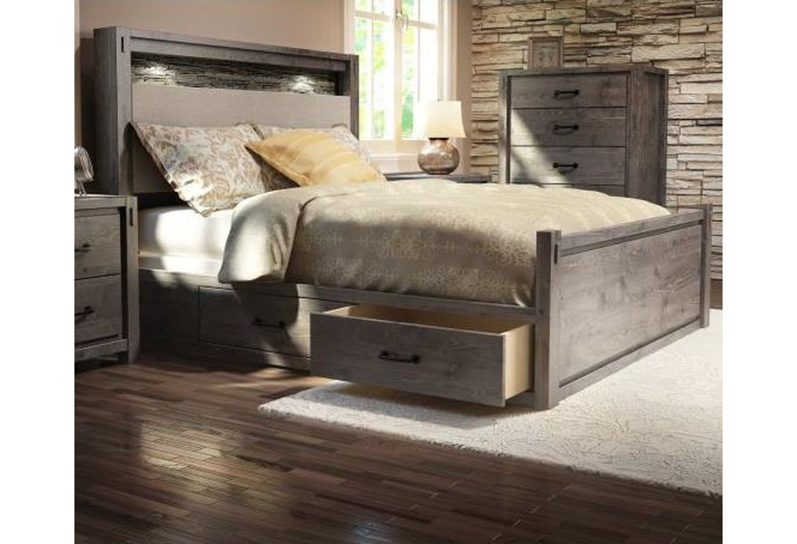 Defehr Series 697 King Rustic Panel Storage Bed With Built In Lighting Stoney Creek Furniture Panel Beds