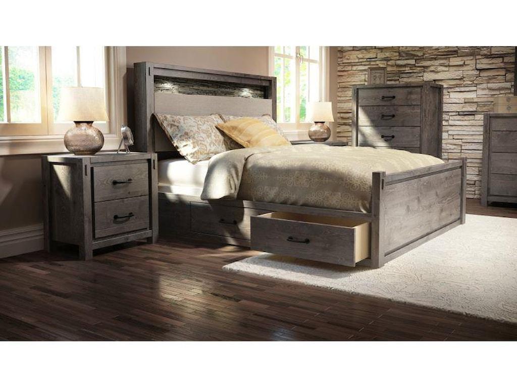 Defehr Series 697Queen Rustic Panel Storage Bed
