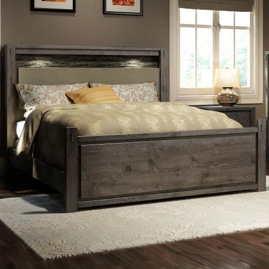 Defehr Series 697 Queen Rustic Panel Bed With Faux Stone And Built In  Lighting